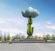 白色茉莉花雕塑设计,城市雕塑