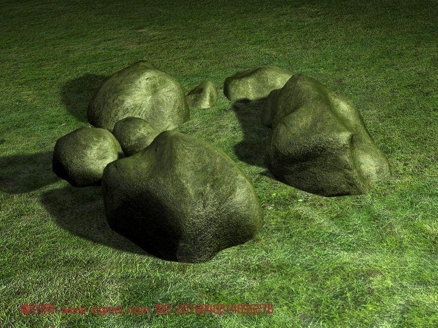 石头和草坪3D模型