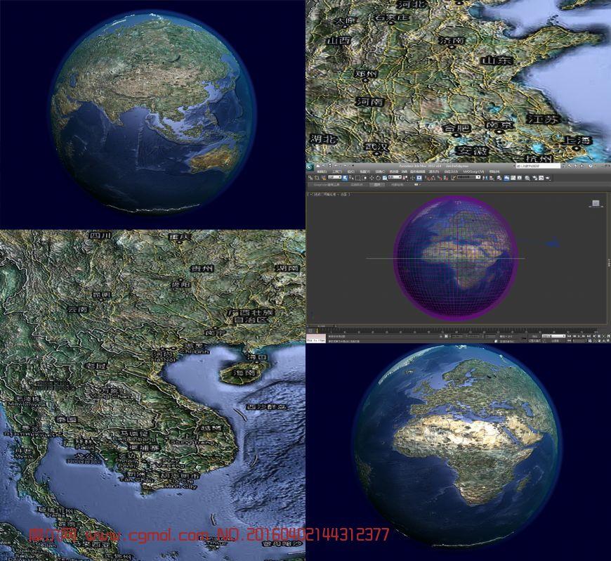 地球有地名标注3D模型