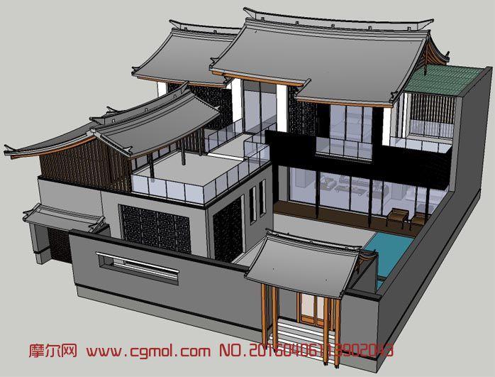 中式复古别墅su模型图片
