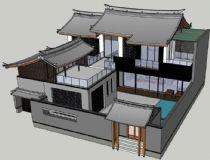 中式复古别墅su模型