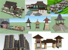 各种东南亚风格SU建筑景观模型组件