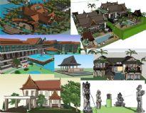 东南亚风格别墅,酒店,会所SU建筑景观模型组件