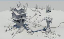 卡通书屋蘑菇maya场景