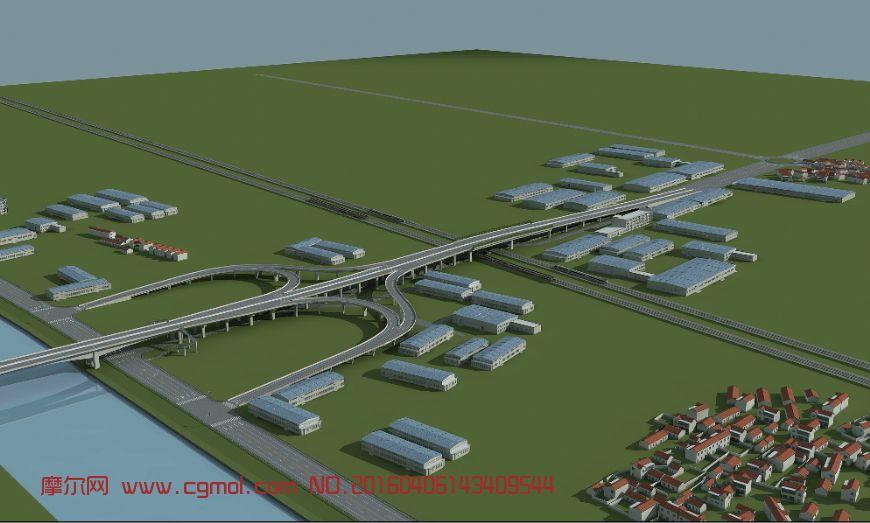 建筑模型 基础设施  标签:高架桥桥梁城市枢纽互通高速路小区 作品