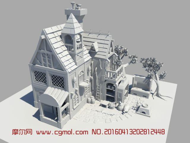 maya制作的小木屋,面包屋场景