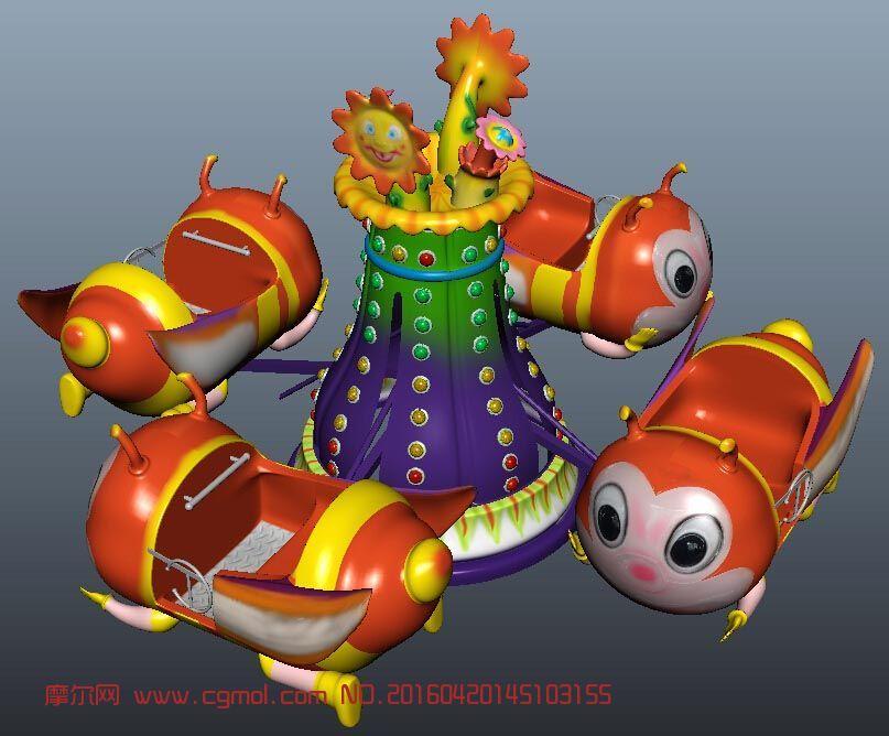 旋转蜜蜂,儿童娱乐设施模型,max,mb,fbx三种格式