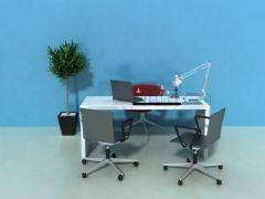 办公桌场景动画3D模型