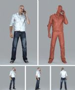 打电话的牛仔男孩3D模型