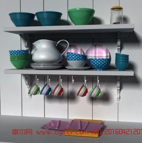 厨房碗碟橱柜3D模型