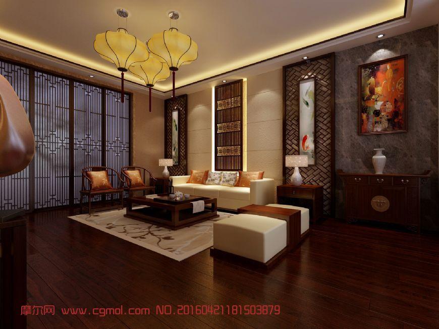 现代复古中式客厅图片