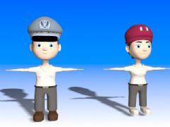 卡通警察3D模型