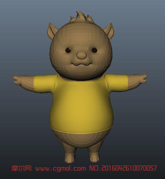 卡通大肚子小熊maya模型