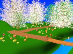 小桥樱花蘑菇卡通场景max作品