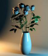 7朵玫瑰插花3D模型