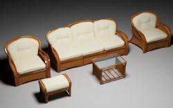 老式实木沙发组合3D模型