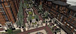 中式小区建筑su模型,含景观