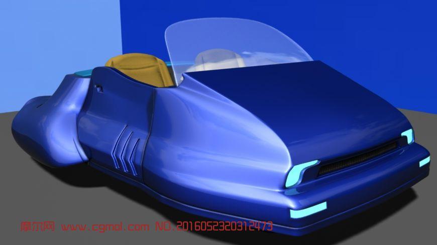 maya卡通悬浮式跑车