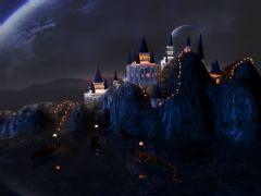 夜晚山间的科幻城堡
