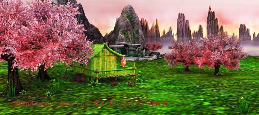 深山桃花源仙境场景3D模型