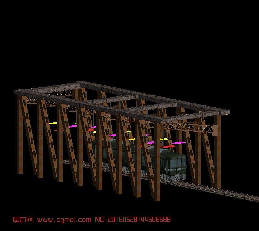 现代场景  标签:火车花架构架火车轨道