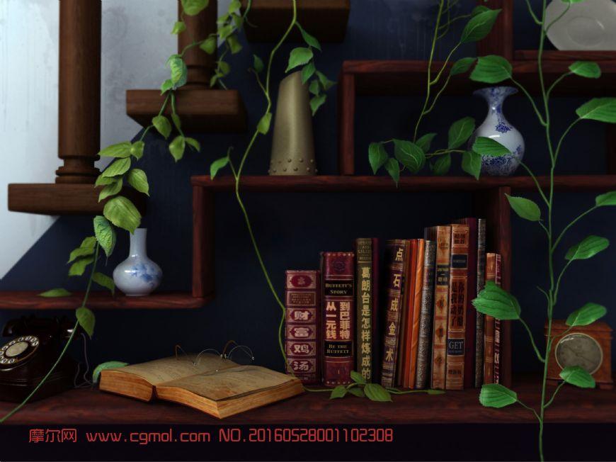 爬满藤蔓的就书柜场景,逝水流年