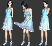 可爱美女3D模型+骨骼动画+贴图