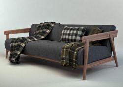现代实木沙发