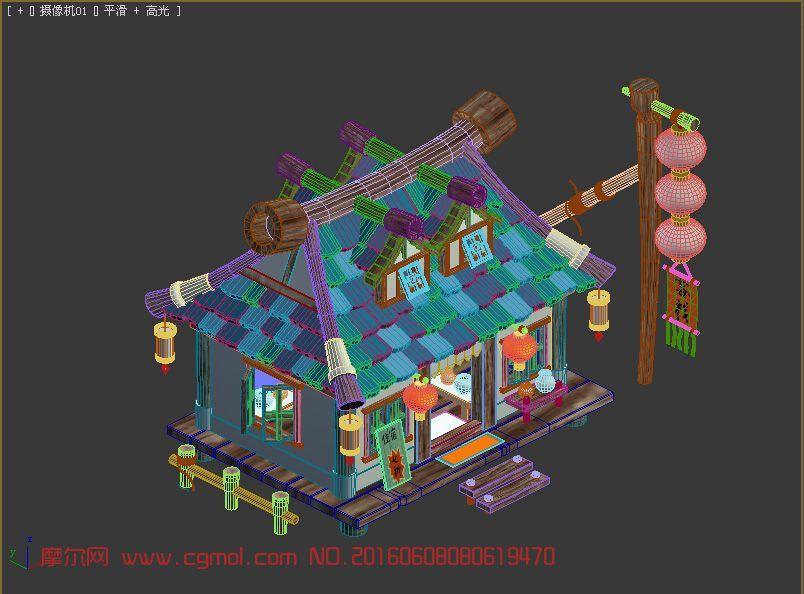 室外建筑模型下载_中国古风类卡通场景客栈max模型,古代场景,场景模型,3d模型下载,3D ...