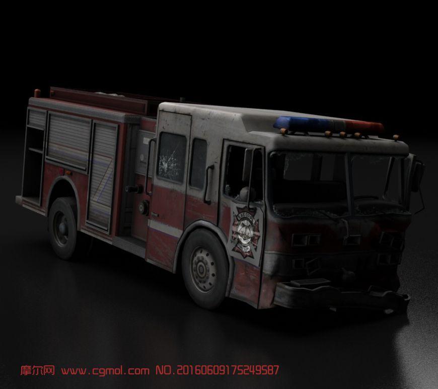 残破消防车,工程车,次时代游戏模型