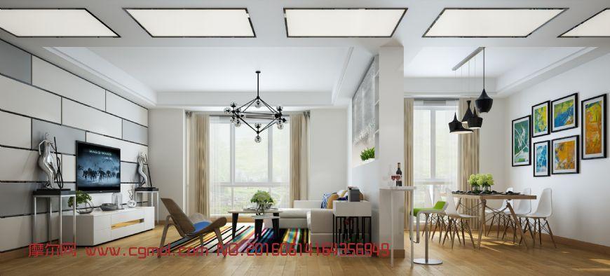 室内模型 整体效果  标签:现代家装木地板背景墙沙发茶几白天阳光餐桌