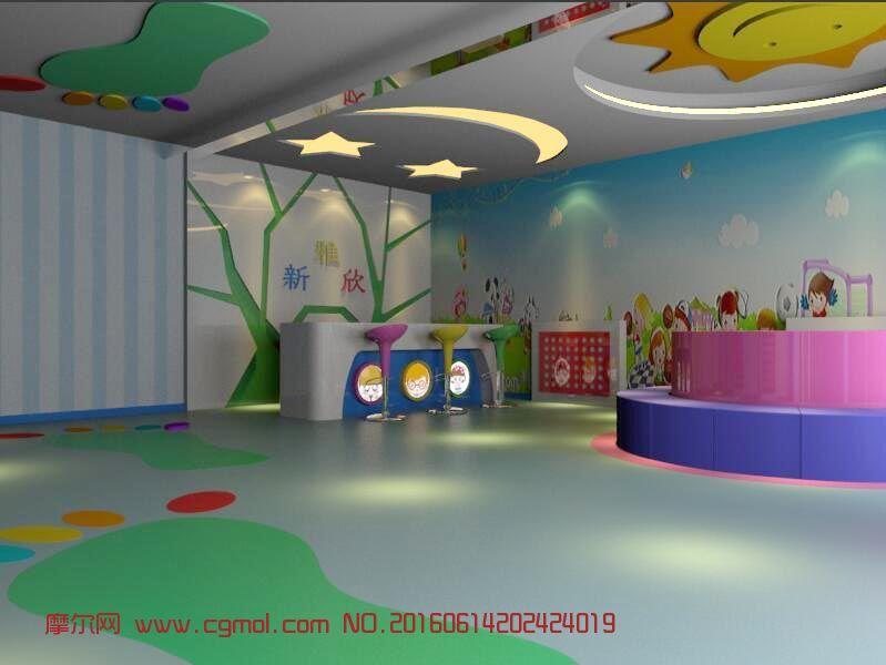 室内模型 整体效果  标签:幼儿园前台早教中心 作品描述: 作者其他