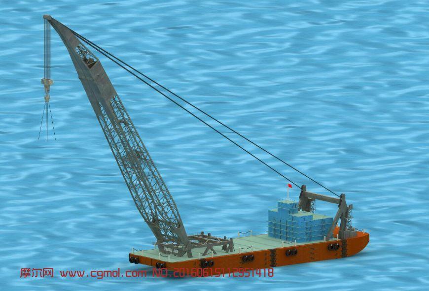 高精度船吊,浮吊3D模型