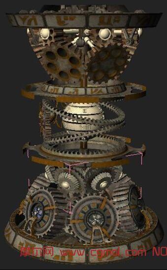 复古机械齿轮转动,带镜头流畅动画