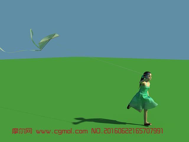放风筝的小女孩,影视动画,现实角色,动画角色,3d模型下载,3D图片