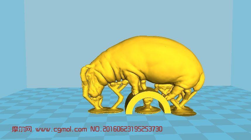 动物模型 哺乳动物  标签:河马 作品描述:原模型无支撑 上一个作品