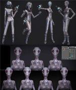 外星人,面部绑定,带控制器,可做多种表情,max,fbx,obj多格式
