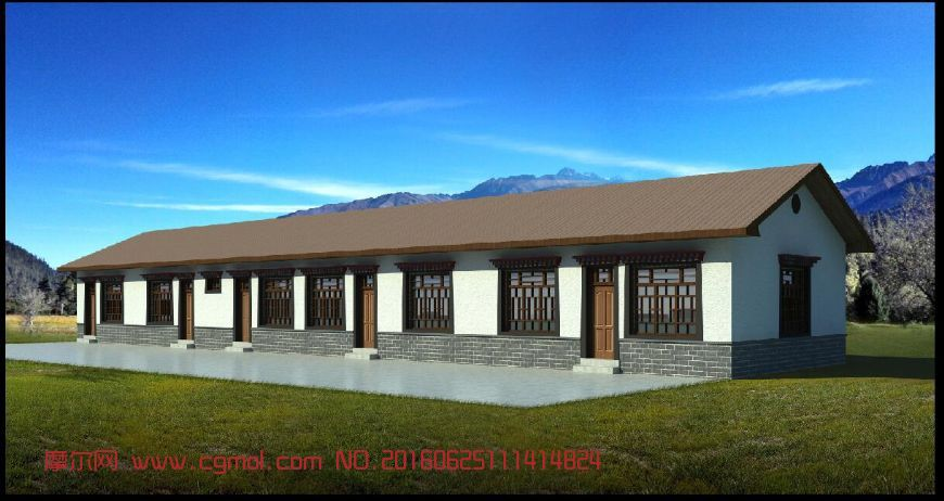 建筑模型 其他建筑  标签:藏式房子房屋红砖房平房 作品描述:藏式