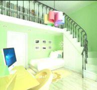 房顶改装书房的男孩房间3D模型