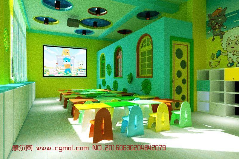 卡通动画风格幼儿园教室,整体效果,室内模型,3d模型