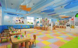 有很多卡通玩偶的幼儿园教室