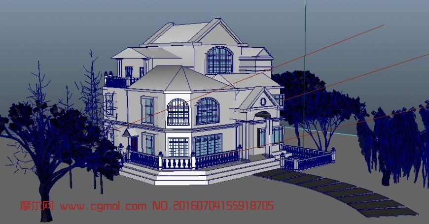 现代别墅设计带植物灯光景观,现代场景,场景模型,3d模型下载,