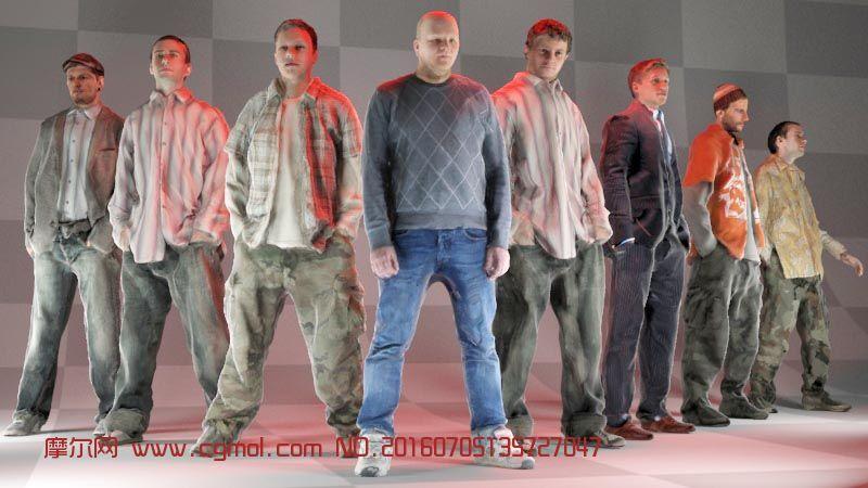 8个写实级的男人3D模型,还有obj格式