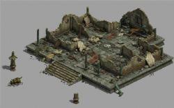 道观损坏后废墟场景模型(网盘下载)