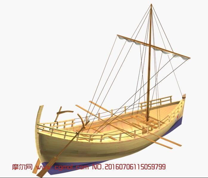 一艘带帆的渔船3D模型