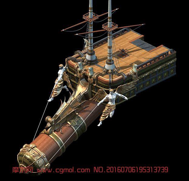 欧式古代风格的船头3d模型