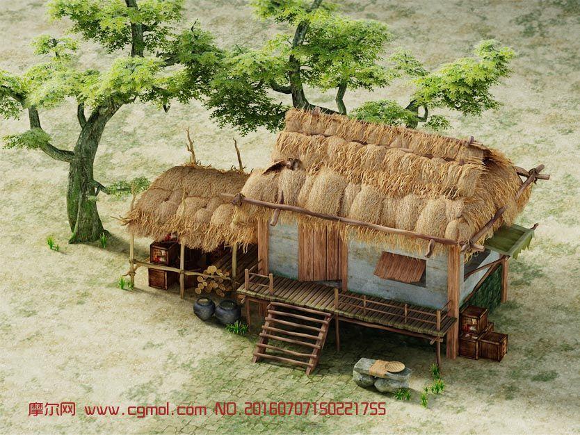 茅草屋,古代民居3D模型