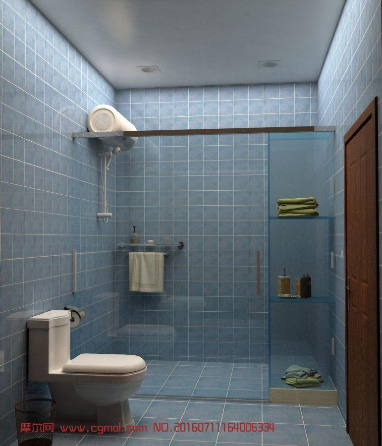 简易卫生间加洗澡间一体!,卫浴厨房,室内模型,3d模型