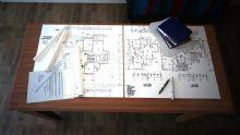 书桌,图纸,文具