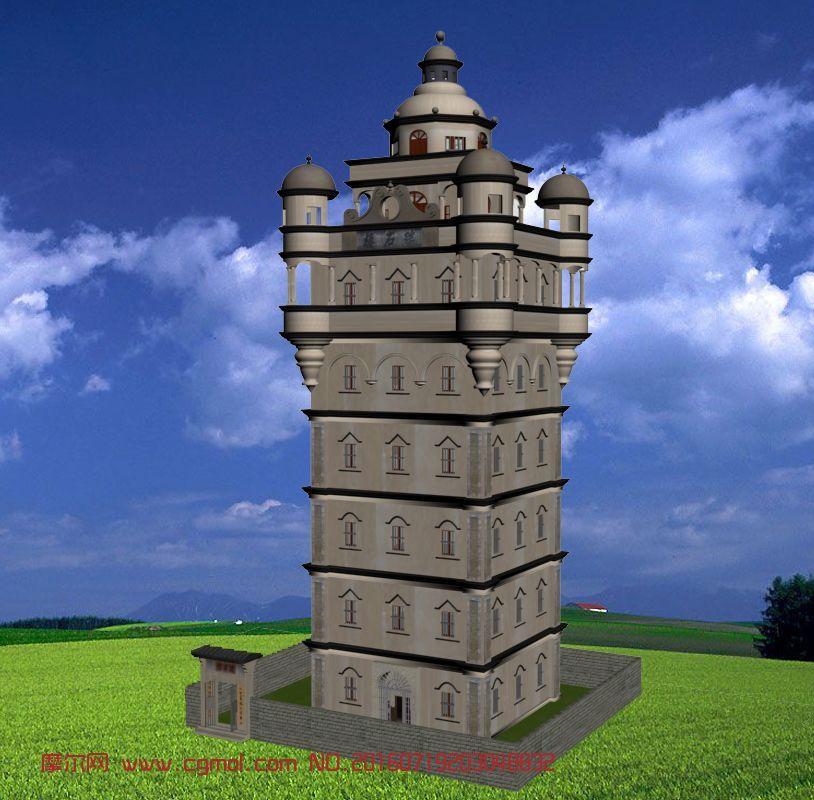 世界文化遗产-开平碉楼-瑞石楼3D模型